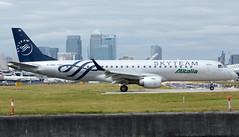 Alitalia Cityliner - Embraer ERJ-190STD - EI-RNB  London City Airport (paulstevenchalmers) Tags: london londoncity airport lcy