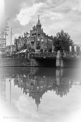 Tower on the Keizersgracht (farflungistan) Tags: keizersgracht bnw amsterdam sundayphotowalk cityscape reflection amsterdamcanal summer2016 canon7d morningphoto holland jordaan nederland streetphotography photowalk
