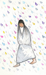 This image seemed appropriate for a rainy day! (DeGrazia Gallery in the Sun) Tags: nationalhistoricdistrict degrazia artist ettore ted galleryinthesun artgallery gallery adobe architecture tucson arizona az catalinas desert monsoons rain storms watercolor painting
