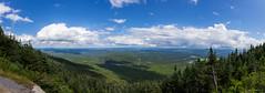 Panoramic Mont Saint-Joseph (NykO18) Tags: canada clouds estrie forest hills landscape montsaintjoseph montmganticnationalpark mounds northamerica panorama panoramicview parcnationaldumontmgantic pinetree qc qubec tree trees woods