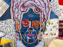 Bad Acid (adrianmojica) Tags: nyc newyorkcity blue red portrait woman usa ny newyork color detail art thread face les canon fun photography photo colorful downtown artist gallery unitedstates artgallery manhattan 28mm lowereastside fabric redeye familyportrait lowermanhattan s90 artexhibition broomestreet marlboroughchelsea artgalleryandmuseums canonpowershots90 canons90 joannaskumanich