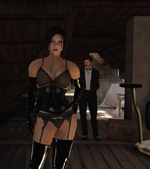 Crawlspace (alexandriabrangwin) Tags: world light madame black dusty stockings leather fetish computer dark 3d graphics opera shiny play boots victim