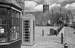 Market Square, Atherstone (robmcrorie) Tags: leica red orange film church st parish 35mm square lens gold market box telephone north delta filter 400 marys m3 ilford warwickshire f35 atherstone summacron