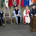 "<b>Commencement_2015_12</b><br/> Commencement speaker Mike Danforth, producer of NPR's hit radio show ""Wait Wait Don't Tell Me"" has the audience rolling in their seats with his witty, yet insightful, commencement address. Photo by Aaron Lurth<a href=""http://farm9.static.flickr.com/8765/17427141163_6992ebea02_o.jpg"" title=""High res"">∝</a>"