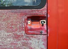 missing and rusted (mcfcrandall) Tags: auto door red ontario abandoned broken metal missing rust vehicle doorhandle mcleans mcleansautowreckers