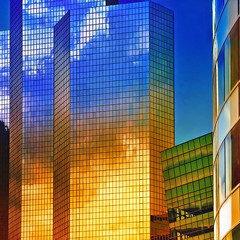 "reflective towers ""Fire and Air"" (fifich@t - off -:() Tags: city blue windows sky urban paris france tower glass azul architecture modern facade skyscraper buildings reflections outdoors fire golden design high construction exterior contemporary air bleu elements squareformat shape defense futuristic offices ladéfense lateafternoon puteaux doré goldenlight courbevoie urbangeometry businessdistrict colorefexpro niksoftware nikond300 nikkor70300afvr coloursenhanced fifichat1 fificht ©frs enteredinsyb"