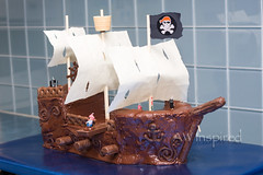 Pirate Ship Cake (AW Inspired Cakes) Tags: cake skull ship treasure nest chocolate pirates chest pirate crowsnest sail mast crows edible plank crossbones ahoy bowsprit