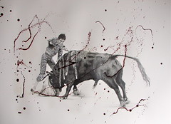 Thrust (www.kevinmaxwellsfineart.com) Tags: bulls bullfighting josetomas graphite chinagraph blood anegitive blackandwhite toros torosymatadores matadores drawing spanish espana