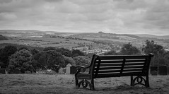 Sit down and take in the view (Rich Walker75) Tags: uk england sky blackandwhite monochrome cemetery bench landscape landscapes blackwhite plymouth devon dartmoor