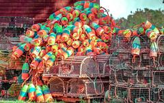 Colorama - Nova Scotia (Sonia'sGallery) Tags: bysoniaa novascotia outdoors soniaargenio soniagallery yellow atlanticcanada blue brightcolors canada color fisherman fishing lobstertraps red traps
