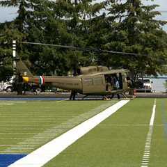 Huey Lands On Football Field (swong95765) Tags: field army ceremony huey brass memorialday hellicopter
