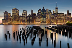 NYC (annedonnay) Tags: nyc longexposure sunset usa newyork reflection building tourism architecture night manhattan heurebleue bluehours
