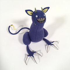 right (MelissaSueArt) Tags: plush handmade tootsiemonster horror embroidery monster creature purple amethyst designertoy arttoy fauxtaxidermy stuffed stitched teeth claws nightmare softie