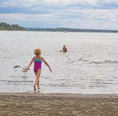 20160709-IMG_2228 ...of course you chase seagulls at Gull Lake (grammiev) Tags: summer vacation lake feet water swimming play gulls running shore peoplewatching younggirl splashing