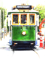 The Green Machine (Steve Taylor (Photography)) Tags: city tour tram crane art digital road street window green red orange yellow white newzealand nz southisland canterbury christchurch cbd trees vignette vehicle traffic cone headlight