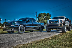 2rigs (Strangely Different) Tags: diesel chevy 1500 powerstroke ford silverado slammed jacked force american 22x14 1958 delray