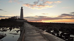Causeway to St. Mary's Lighthouse at Dawn (Gilli8888) Tags: whitleybay sunrise lighthouse stmaryslighthouse tyneandwear dawn clouds sky light batesisland coast eastcoast northsea coastline seascape silhouette