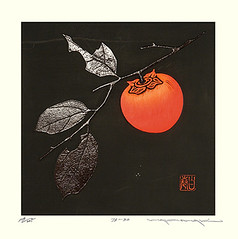 Japanese persimmon (Japanese Flower and Bird Art) Tags: flower persimmon diospyros kaki ebenaceae haku maki modern woodblock print japan japanese art readercollection