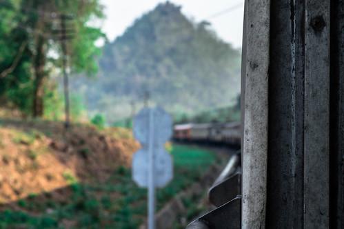 Sign Approaching - Bangkok To Chiang Mai Railway, Thailand.