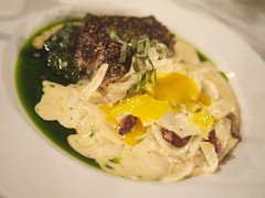 Dinner at Grove Hill, Chagrin Falls OH (PlaysWithFood) Tags: tomato burrata salad bbqpork coleslaw fries swordfish aupoivre carbonara onions egg yolk dinner