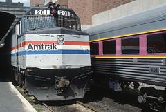 AMTK F40PH 201 at South Station, Boston, MA on June 25, 1983 (railfan 44) Tags: amtrak