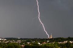 Lightning hits the Basilica (ep_jhu) Tags: dcist longexposure tormenta sky washington storm 7d nubes basilicaofthenationalshrineoftheimmaculateconception lightning city cua canon dc basilica clouds