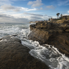 san diego : windansea beach (William Dunigan) Tags: san diego windansea beach la jolla afternoon sunset rock formation clouds marine layer southern california color seascape nikon d800 william dunigan local art fine motion blur water waves blue sky square format seascaoe
