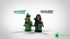 "The ""Verde Vigilante"" and ""Campy Quiver"" Presale (CyclopsBricks) Tags: lego custom printed batman 3 2 1 green vigilante archer arrow bat man cw atom canary black white vixen superhero superheroes nightwing season 4 5 classic golden age alex ross"