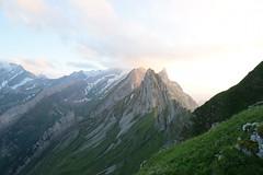 (Giramund) Tags: säntis mountains sunset switzerland peak appenzell evening sky light clouds ridge