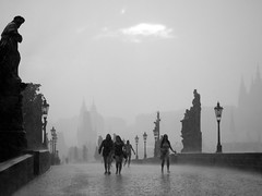 Stand by me *Explored* (PixPep) Tags: prague rain rainseries charlesbridge charlesbridgeprague checkrepublic summer blackandwhite blackwhite monochrome pixpep