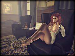 His shirt, His chair (morganmonroe1) Tags: ginger sensual his breasts maitreya sl secondlife sexy submissive chair