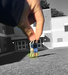 Forced Perspective (theyellow_pencil) Tags: forcedperspective blackandwhite color outdoor outside school