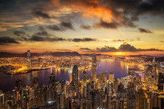 Sunrise over Victoria Harbor as viewed atop Victoria Peak (anekphoto) Tags: view building china island asia sky urban city hong kong victoria peak harbour aerial harbor business dusk sunset downtown district hdr mountain scene skyline twilight architecture highdynamicrange tsim financial exterior cityscape skyscraper apartment cloud dramatic sha type tsui place famous scenic sunrise point sun top travel 100 shopping boat daytonight