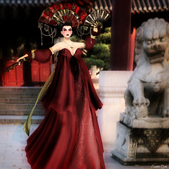 Miss SL - 3rd Challenge Theme: The Golden Age of Imperial China Haute Couture 2015 (Eurdice Qork) Tags: china sexy fashion photoshop fan model makeup ps sl secondlife imperial fans gown ancientchina mixandmatch