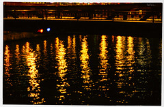 The Gold Doesn't Burn (swanksalot) Tags: bridge chicago reflection water river franklin loop availablelight chicagoriver nocturne blogthis