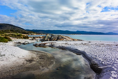 Bicheno reflections, Tasmania (Marian Pollock) Tags: sea seagulls grass clouds reflections sand rocks australia tasmania shallows bicheno flickraward5