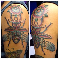 Stag Beetle w flower #stag #beetle #tattoo #poochart @eikondevice #symbeos @fusionink_ca #alteredstatetattoo