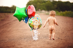 :: baby bottom :: (mjcollins photography) Tags: birthday old boy baby cute balloons naked walking outside one child year butt bottom rear young away caucasian