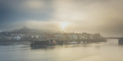 Harbour Mist, Whitby (Kathy ~ FineArt-Landscapes) Tags: harbour whitby yorkshire yorkhirecoast mist fog town water river britain sunlight
