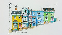 Colorful Row Houses of Newfoundland (sheelerart) Tags: original house canada art architecture ink newfoundland watercolor painting landscape video row watercolour penandink youtube winsorandnewton paintingaday imagesofcanada youtubers moleskinearts