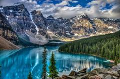 Moraine Lake- Banff National Park (andrewgrove) Tags: banff morrainelake canada alberta lake hdr reflection mountains morainelake britishcolumbiamountains albertamountains