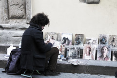 Artist (echoofmemories) Tags: people street art artist canon places lucca italy paintings strada allaperto faceless