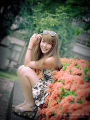 jaylin-0255 ( Jaylin) Tags: school portrait girl hat rain studio outside glasses model women university longhair taiwan straw olympus oldhouse dresses taipei mirco turf omd   jaylin m43   40150mm mzd  jelin      linjay