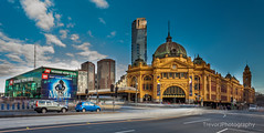 Flinders Street Station, Melbourne (trevorjphotography) Tags: flindersstreetstation longexposure ndfilter neutraldensityfilter fotga motion melbourne victoria australia eurekatower nice day blue sky blueskies goodweather clouds cars canoneos5dmarkii ef1740mmf4lusm cityscape landscape heritage oldbuilding city classic architecture le daytime historic landmark famous federation square intersection traffic people blurrymovement