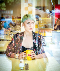 (www.Michie.ru) Tags: street travel light reflection green art me cup glass girl beauty fashion yellow female japanese cafe model eyes holidays europe artist photographer tea shortcut shorthair chisinau moldova yellowcup femalephotographer