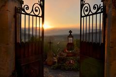 Heavenly gates (pentlandpirate) Tags: heaven gates graveyard castelnaud france dordogne river mist fog dawn chateau castle