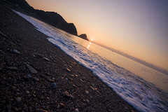 sunrise (Olen photo) Tags: yilan taiwan ocean beach stone sand sunrise wave mountain sun orange blue canon 500d tokina t116 view travel trip