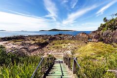 Barry Park Stairway and Rock Shelf ('whitewithone) Tags: australia au newsouthwales nsw portstephens fingalbay barrypark headland stairway steps rockshelf rockpools bay ocean bluesky clouds landscape