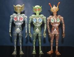 All Three Invaders (Takara 1970's) (Donald Deveau) Tags: takara invaderz invadero invaderj invaders toys actionfigure sciencefiction alien kaiju japanesetoy henshincyborg