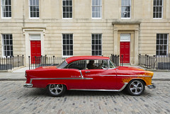 Red (Chevrolet Belair) (CarolynEaton) Tags: bristol queensquare car vintage classic colour rainbow